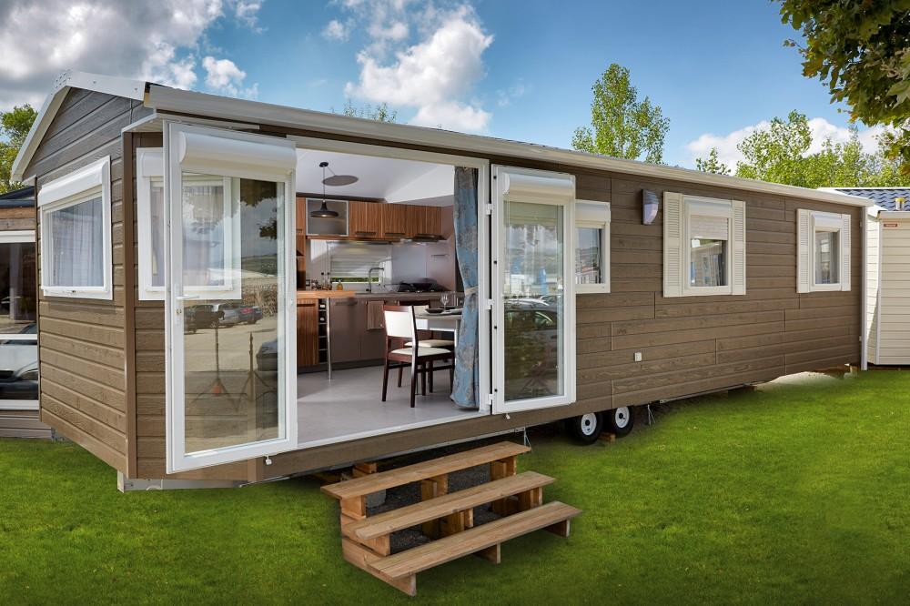 Casa mobil de chapa o Panel de sandwich en Cordoba de 60 m2. Modelo Nisa, desde 200€/M2 con revestimiento exterior como en la foto.