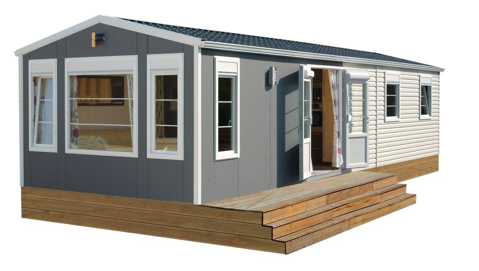 Casa mobil de chapa o Panel de sandwich en Cordoba de 60 m2. Modelo Sombra, desde 200€/M2 con revestimiento exterior como en la foto.